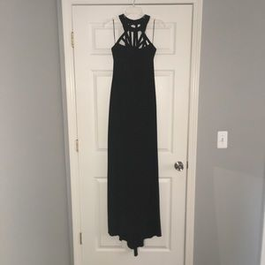 Cache' Black Caged Evening Gown with Train